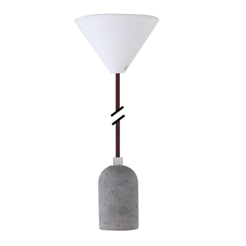 design pendelleuchte textilkabel braun mit beton lampenfassung e27 ba. Black Bedroom Furniture Sets. Home Design Ideas