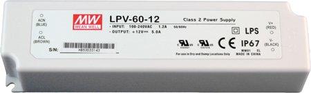 Mean Well LED Netzgerät 12V DC 60W IP67 LPV-60-12