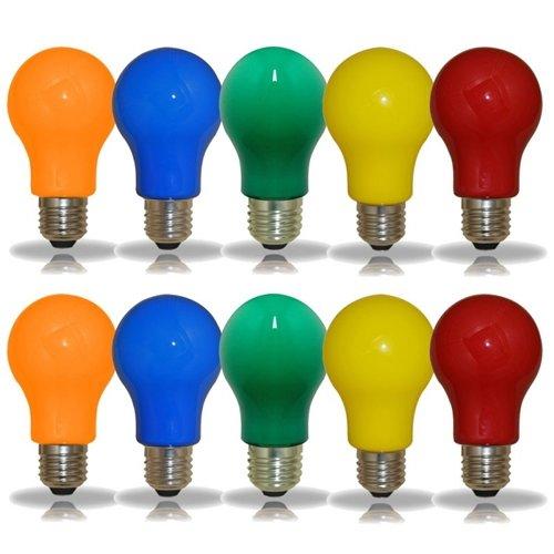 NCC 10er Set LED-Lampen Glühlampenform A60 3W E27 farbig