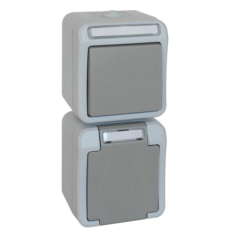 PERANOVA AP-FR Kombination Wechselschalter/Steckdose IP54 grau/hellgrau senkrecht