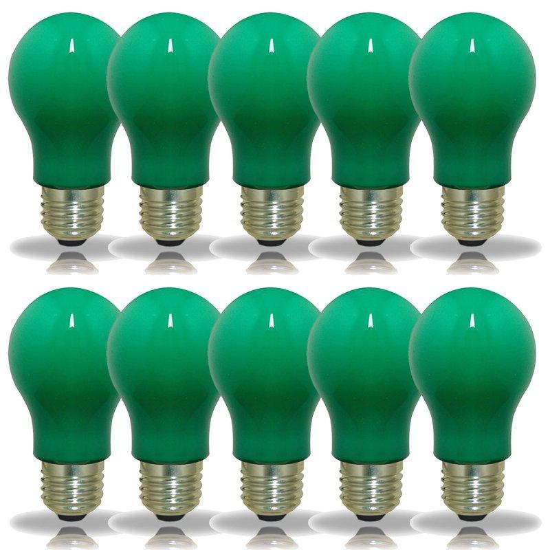 NCC 10er Set LED-Lampen Glühlampenform A60 3W E27 grün